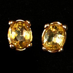 Citrine Colored Oval 4 Prong Earrings